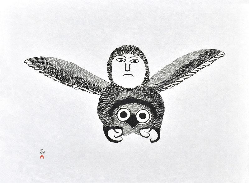 Ohotaq Mikkigak  IGUTSAQ (THE BEE) Stonecut & Stencil 2000 45.9 x 62.2 cm $400.00 CDN Released in the 2000 collection Dorset ID#: 00-25