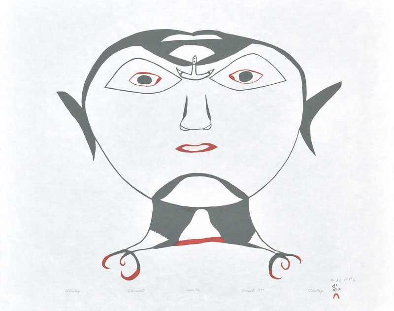 Ohotaq Mikkigak ULLULIQ (HEAD WITH ULU) Stonecut 1999 49.5x62 cm $400.00 CDN Released in the 1999 collection Dorset ID#: 99-20