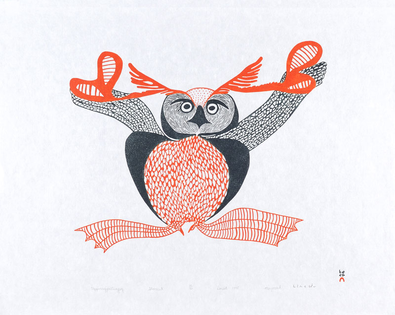 Mayoreak Ashoona  UPPIRUQPALLIAJUK (TRANSFORMING TO AN OWL) Stonecut 1998 62 x 76 cm $500.00 CDN Released in the 1998 collection Dorset ID#: 98-12