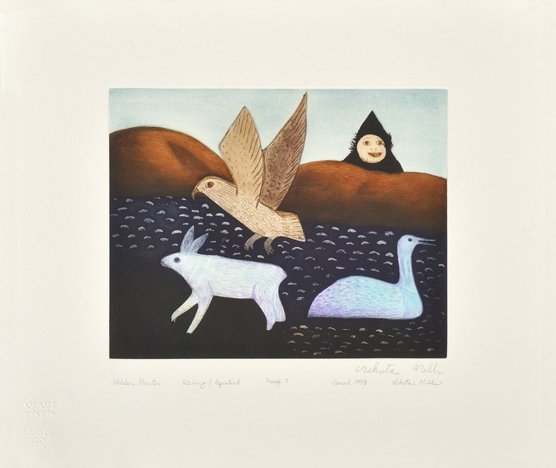 Nikotai Mills  HIDDEN HUNTER Etching & Aquatint 1998 51 x 60 cm $500.00 CDN Released in the 1998 collection Dorset ID#: 98-14