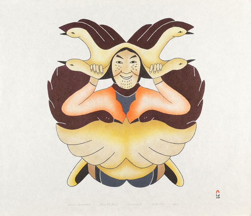 Mary Pudlat  SHAMAN SURROUNDED Stonecut & Stencil 1998 62 x 72.5 cm $500.00 CDN Released in the 1998 collection Dorset ID#: 98-07