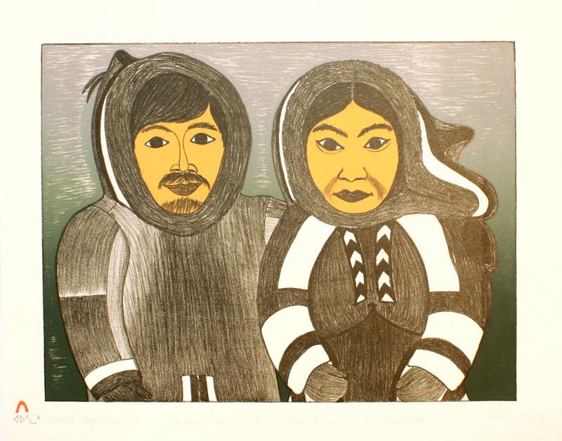 Kananginak Pootoogook  INNUK AGUNASUTTIK Lithograph 1976 40 x 50 cm $400.00 CDN Released in the 1997 collection Dorset ID#: 97-E03
