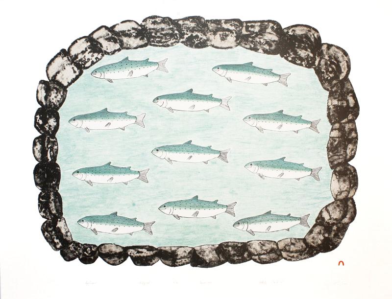 Kakulu Saggiaktok  IQQALUQAUT (FISH POND) Lithograph 1995 57 x 75.1 cm $350.00 CDN Released in the 1995 collection Dorset ID#: 95-06