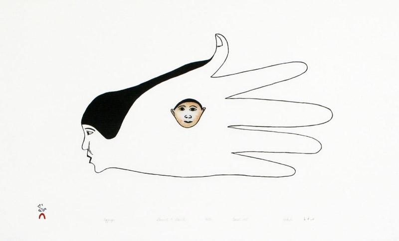 Kakulu Saggiaktok  AGGAUJA (SPIRIT'S HAND) Stonecut & Stencil 1995 38 x 62 cm $300.00 CDN Released in the 1995 collection Dorset ID#: 95-03