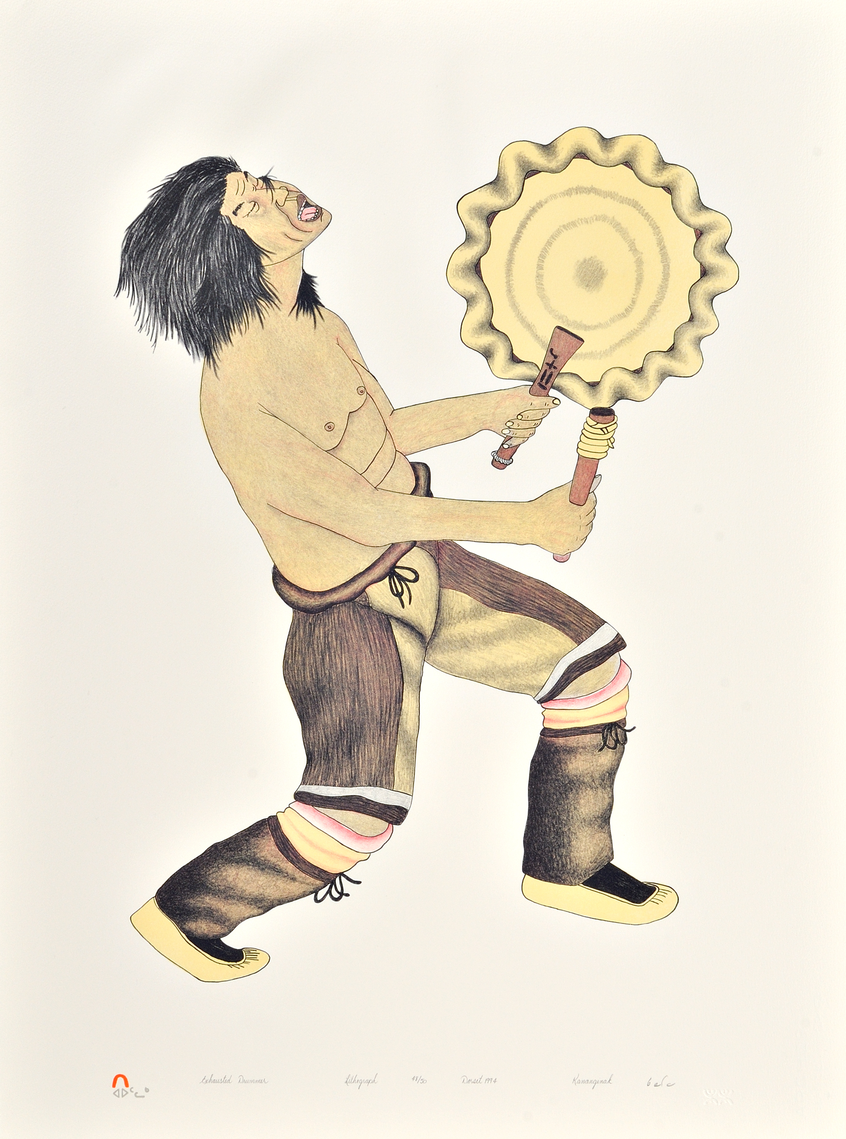 Kananginak Pootoogook  EXHAUSTED DRUMMER Lithograph   1994 76.2 x 56.5 cm $400.00 CDN Released in the 1994 collection Dorset ID#: 94-07