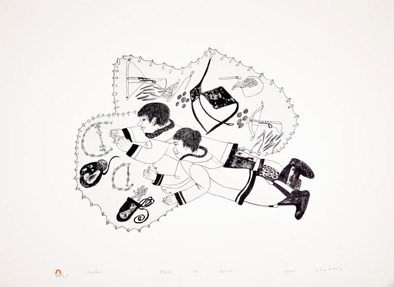 Mayoreak Ashoona  INUGAKTUUK (BONE GAME) Lithograph   1993 56.3 x 76 cm $250.00 CDN Released in the 1993 collection Dorset ID#: 93-23