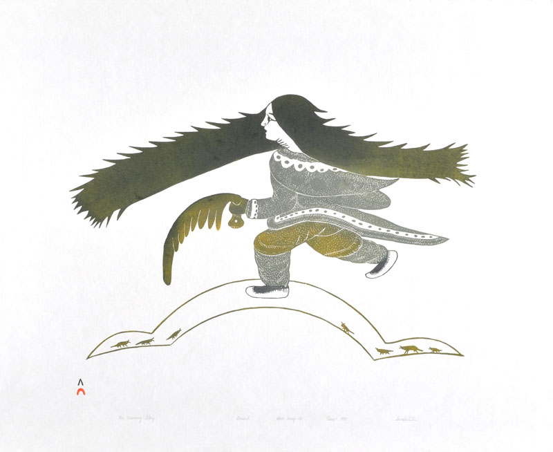 Soroseelutu Ashoona  HER CROWNING GLORY Stonecut   1993 61.7 x 74 cm $300.00 CDN Released in the 1993 collection Dorset ID#: 93-34