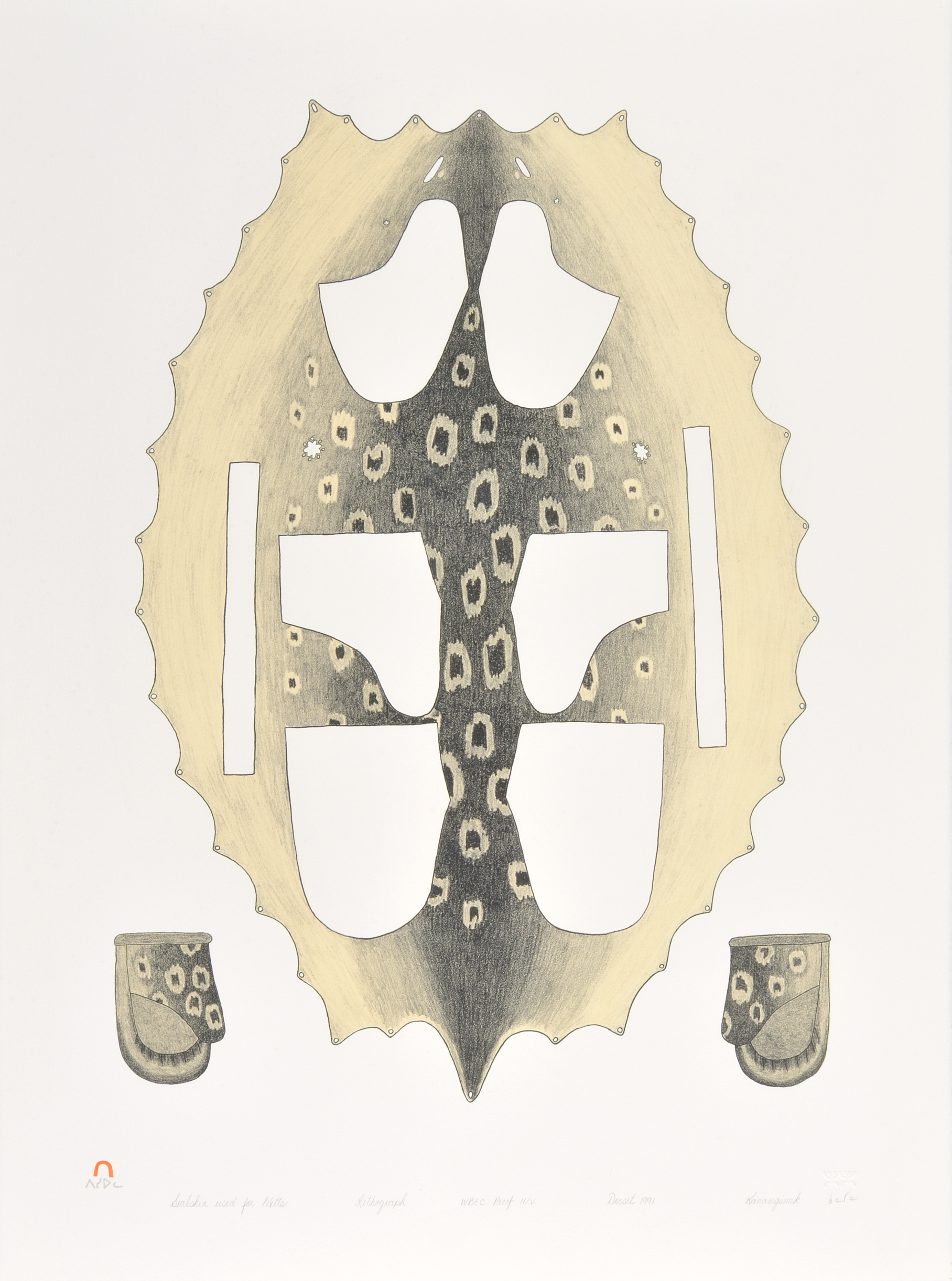 Kananginak Pootoogook  SEALSKIN USED FOR MITTS Lithograph 1991 76 x 56 cm $350.00 CDN Released in the 1991 collection Dorset ID#: 91-07