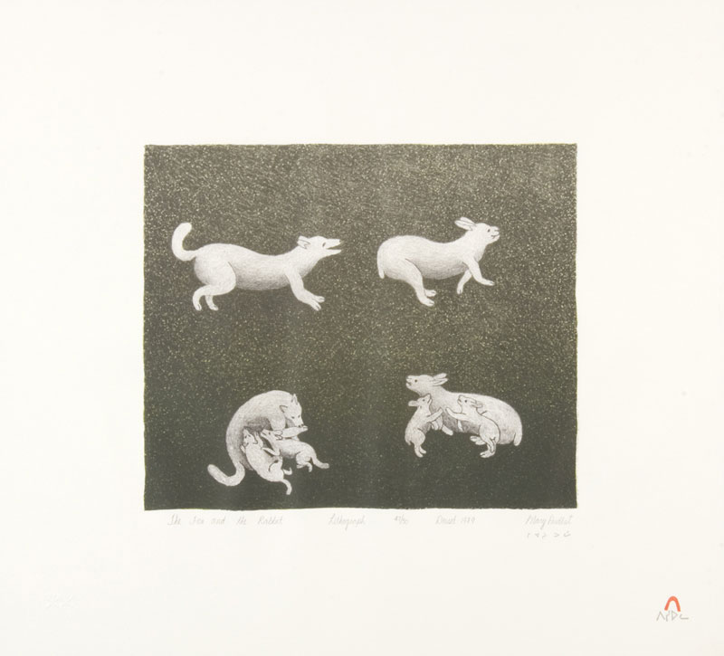 Mary Pudlat  THE FOX AND THE RABBIT Lithograph 1989 46 x 51 cm $250.00 CDN Released in the 1989 collection Dorset ID#: 89-13
