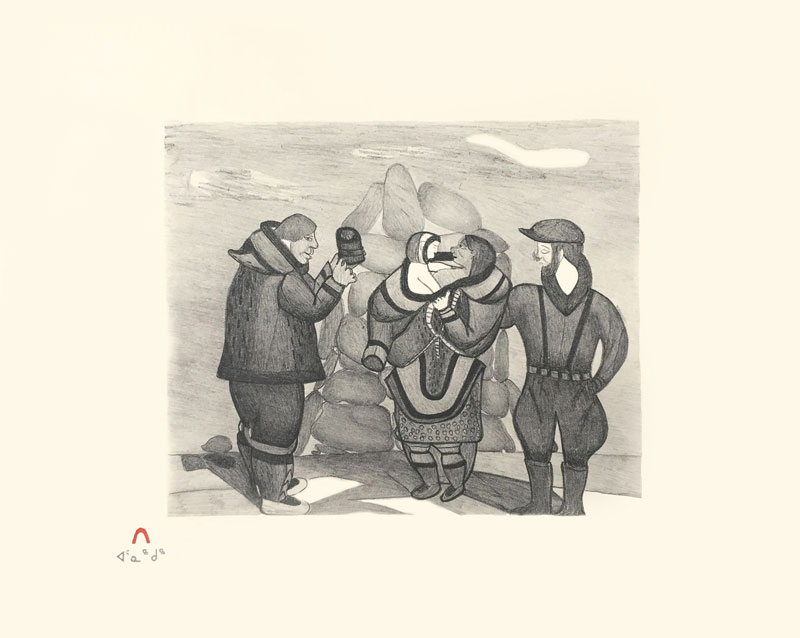 Napachie Pootoogook  WHALER'S EXCHANGE Lithograph 1989 40.5 x 51 cm $250.00 CDN Released in the 1989 collection Dorset ID#: 89-21