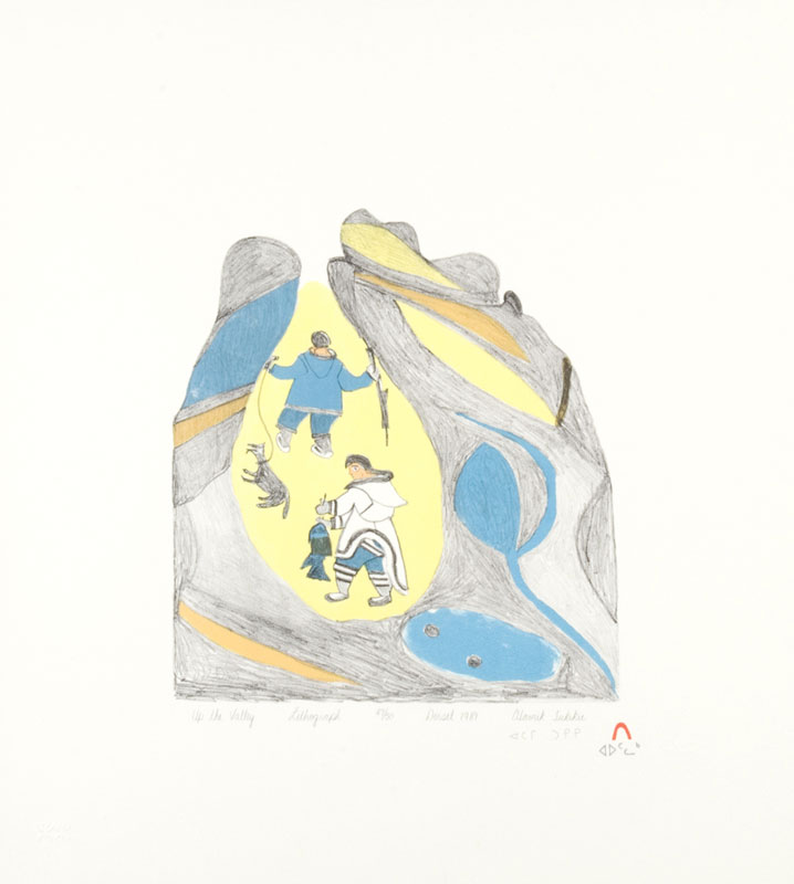 Tukikie Atamik  UP THE VALLEY Lithograph 1989 51 x 46 cm $250.00 CDN Released in the 1989 collection Dorset ID#: 89-30