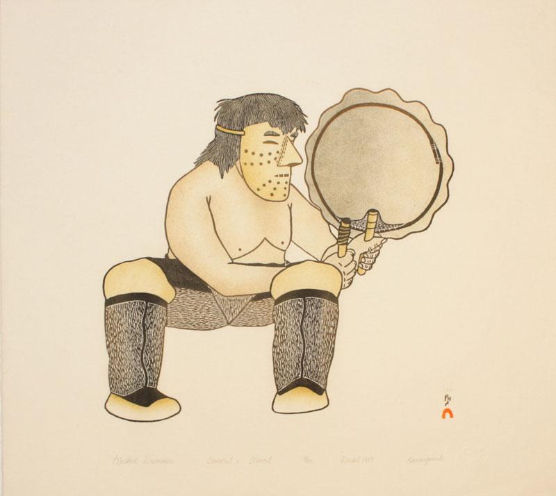 Kananginak Pootoogook  MASKED DRUMMER Stonecut & Stencil 1989 46 x 52 cm $250.00 CDN Released in the 1989 collection Dorset ID#: 89-03