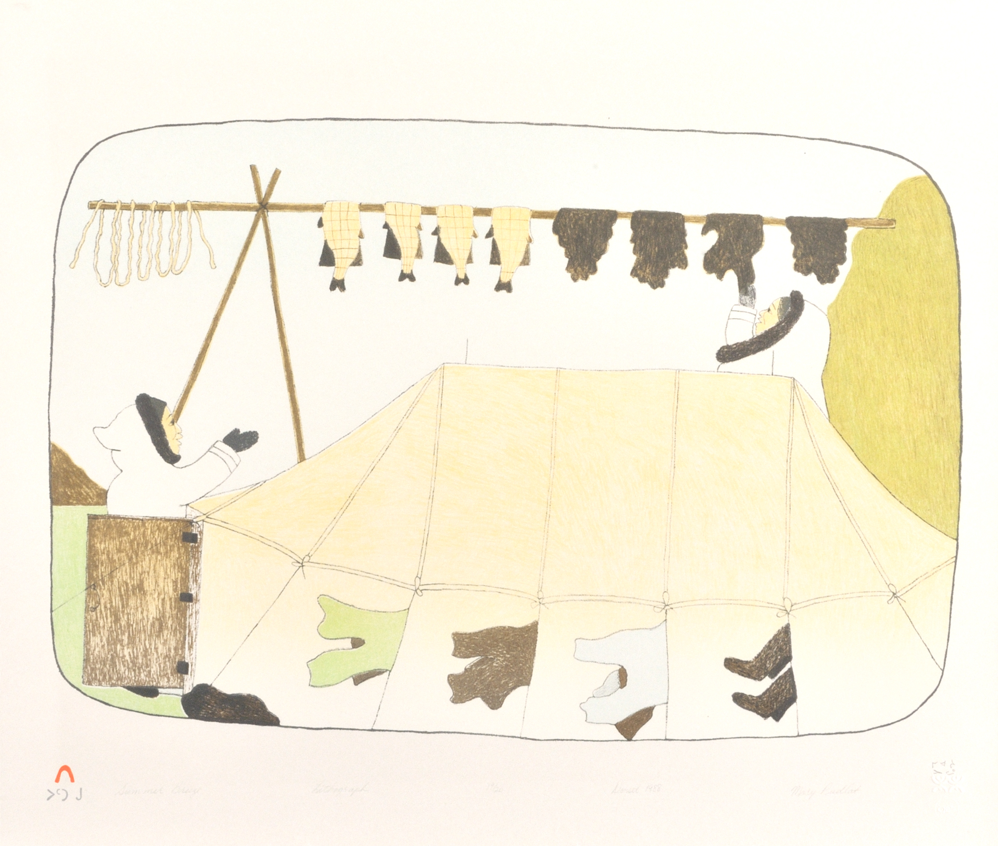 Mary Pudlat  SUMMER BREEZE Lithograph 1988 50.5 x 60 cm $350.00 CDN Released in the 1988 collection Dorset ID#: 88-26