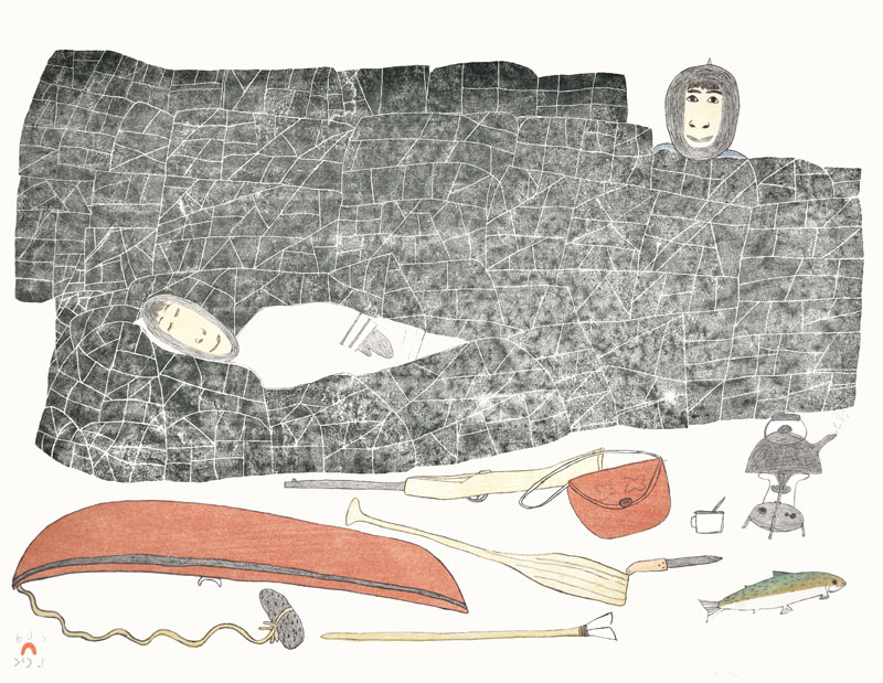 Kakulu Saggiaktok  ASLEEP IN THE HILLS Lithograph 1987 51.5 x 66.5 cm $300.00 CDN Released in the 1987 collection Dorset ID#: 87-03