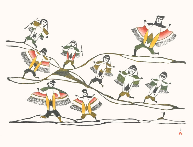 Pudlo Pudlat  HUNTERS IN THE HILLS Stonecut & Stencil 1987 55 x 71 cm $400.00 CDN Released in the 1987 collection Dorset ID#: 87-31