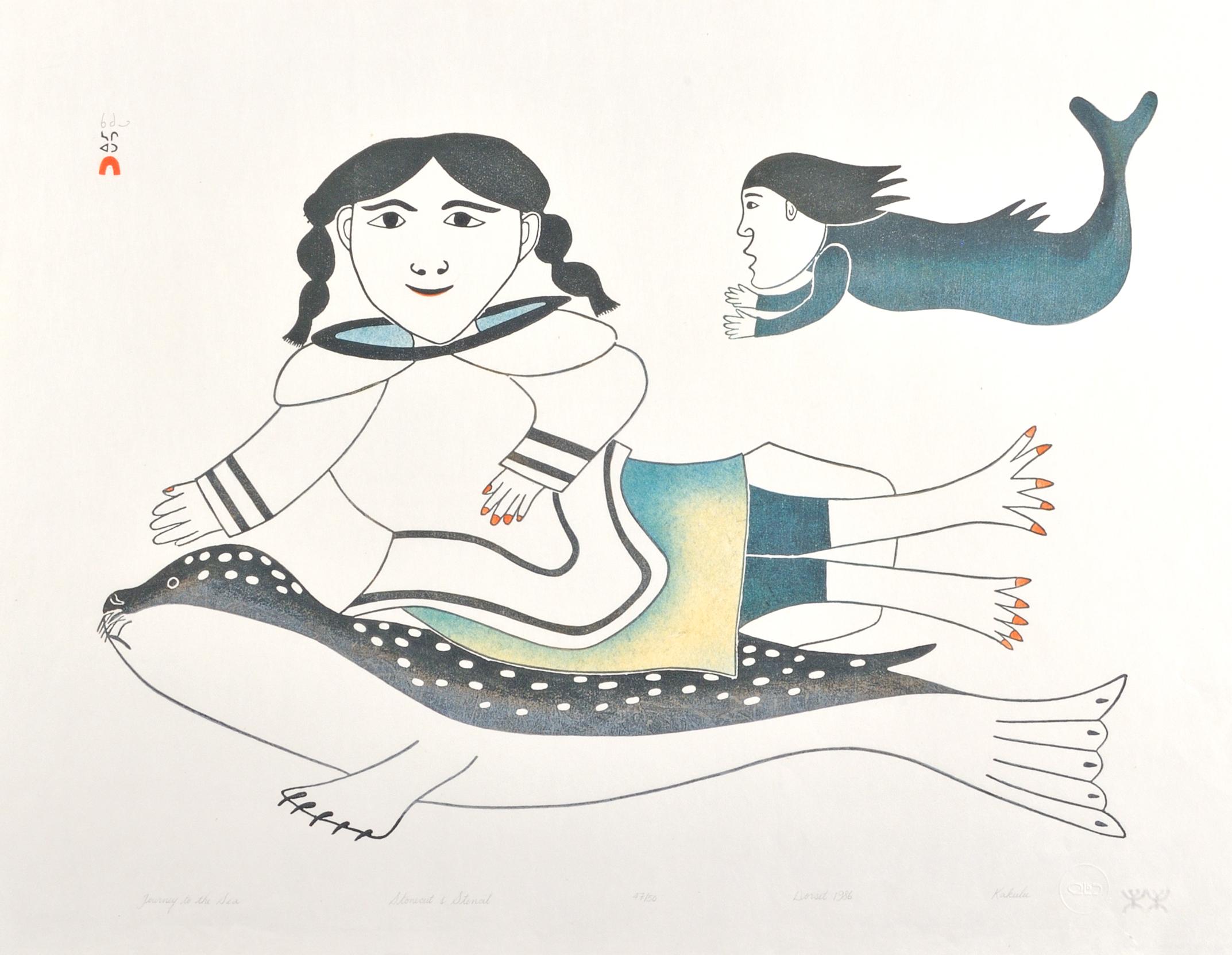 Kakulu Saggiaktok  JOURNEY TO THE SEA Stonecut & Stencil 1986 54.7 x 71 cm $350.00 CDN Released in the 1986 collection Dorset ID#: 86-04