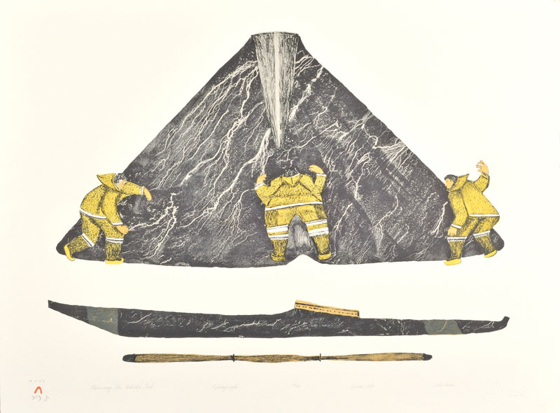 Oshoochiak Pudlat  MEASURING THE WHALES TAIL Lithograph 1986 56.5 x 75.7 cm $325.00 CDN Released in the 1986 collection Dorset ID#: 86-21