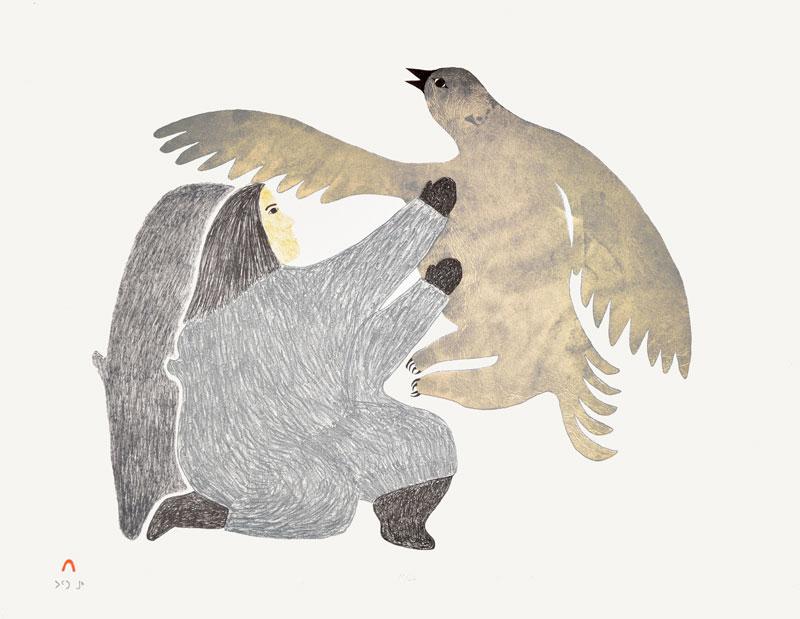 Pitaloosie Saila  ILLUSIVE BIRD Lithograph 1986 52 x 67 cm $350.00 CDN Released in the 1986 collection Dorset ID#: 86-23
