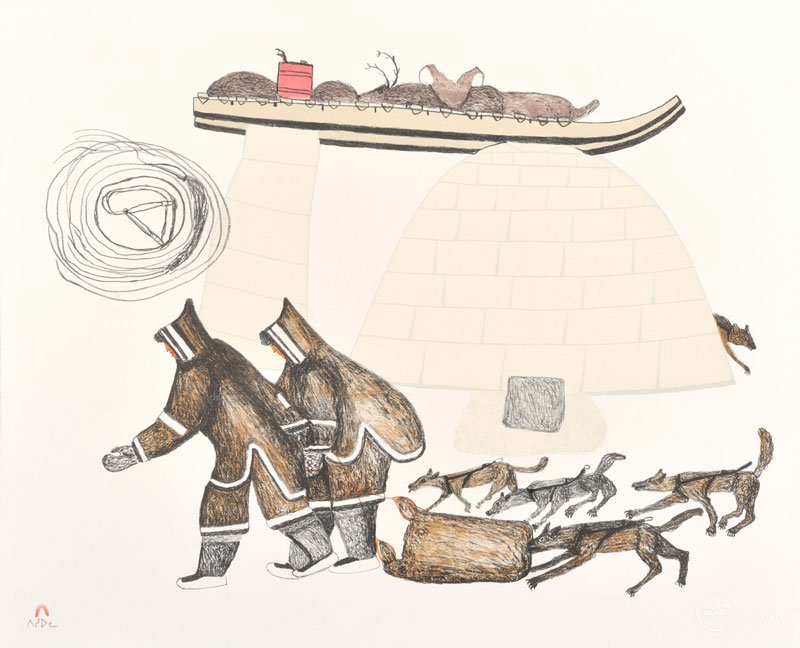 Oshoochiak Pudlat  FOOD FOR THE DOGS Lithograph 1984 47 x 57.5 cm $275.00 CDN Released in the 1984 collection Dorset ID#: 84-23