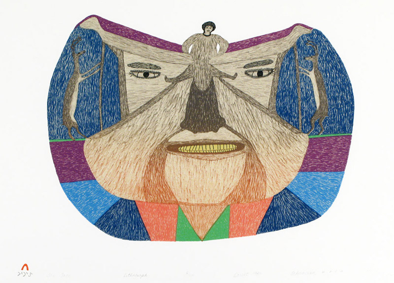 Oshoochiak Pudlat  THE FACE Lithograph 1983 51 x 66 cm $275.00 CDN Released in the 1983 collection Dorset ID#: 83-L15
