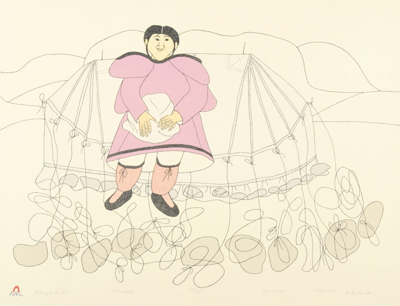 Mayoreak Ashoona  PUTTING UP THE TENT Lithograph 1982 51 x 66.5 cm $250.00 CDN Released in the 1982 collection Dorset ID#: 82-L19