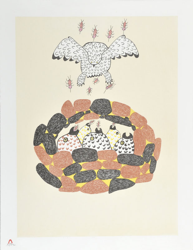 Pitseolak Ashoona  MOSQUITOES Lithograph 1982 66 x 51 cm $300.00 CDN Released in the 1982 collection Dorset ID#: 82-L24