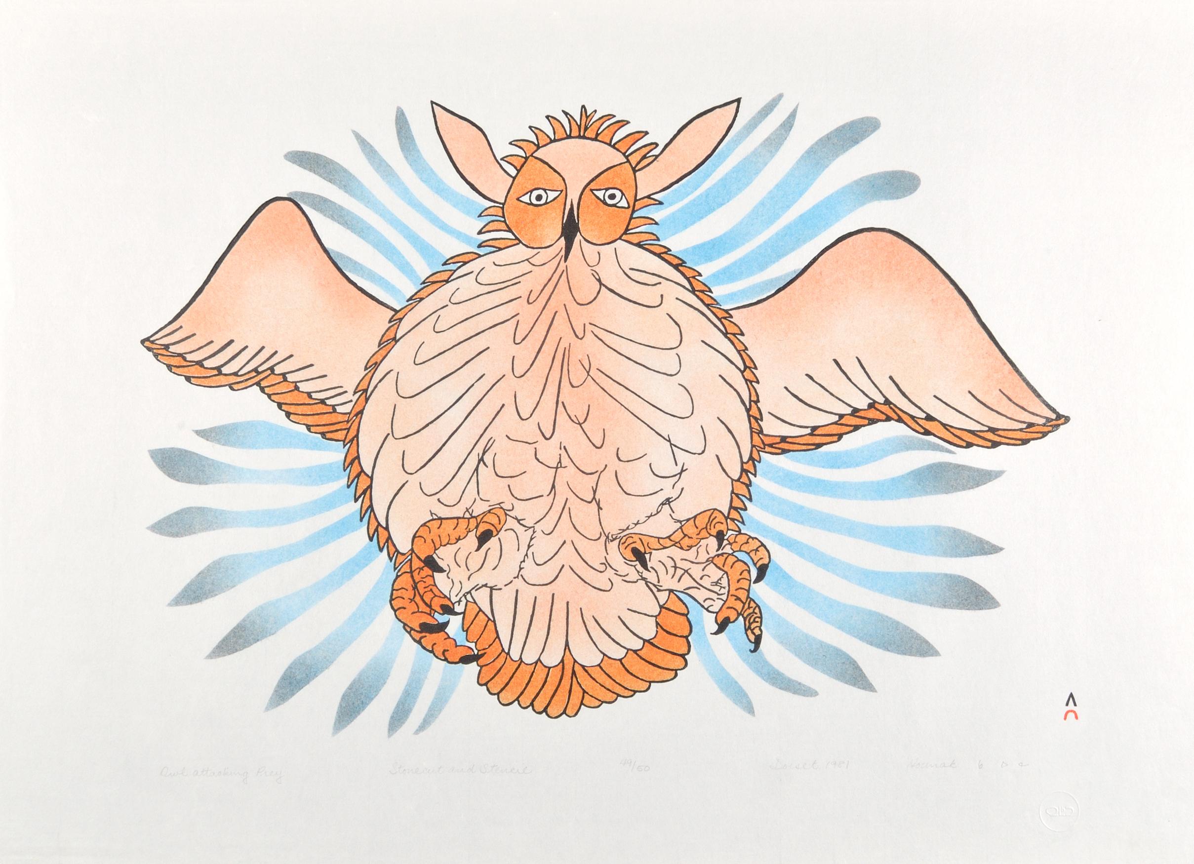 Haunak Mikkigak  OWL ATTACKING PREY Stonecut & Stencil 1981 63 x 86 cm $275.00 CDN Released in the 1981 collection Dorset ID#: 81-09