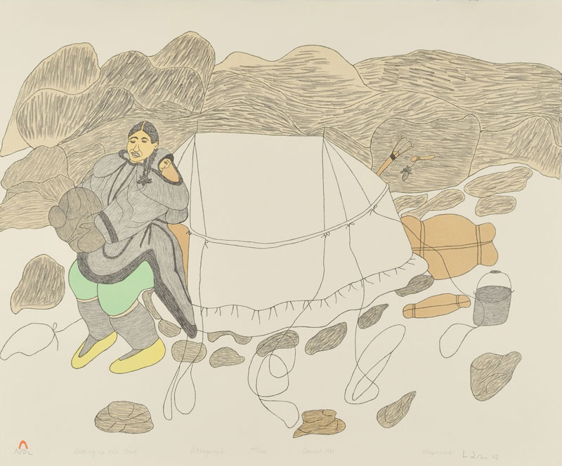 Mayoreak Ashoona  PUTTING UP THE TENT Lithograph 1981 54.5 x 65.5 cm $325.00 CDN Released in the 1981 collection Dorset ID#: 81-L19