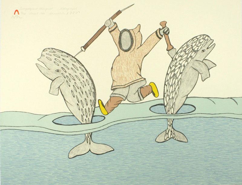 Soroseelutu Ashoona  TUNGAAK AND ALUNGUAT Lithograph 1980 39 x 50.5 cm $225.00 CDN Released in the 1980 collection Dorset ID#: 80-L29