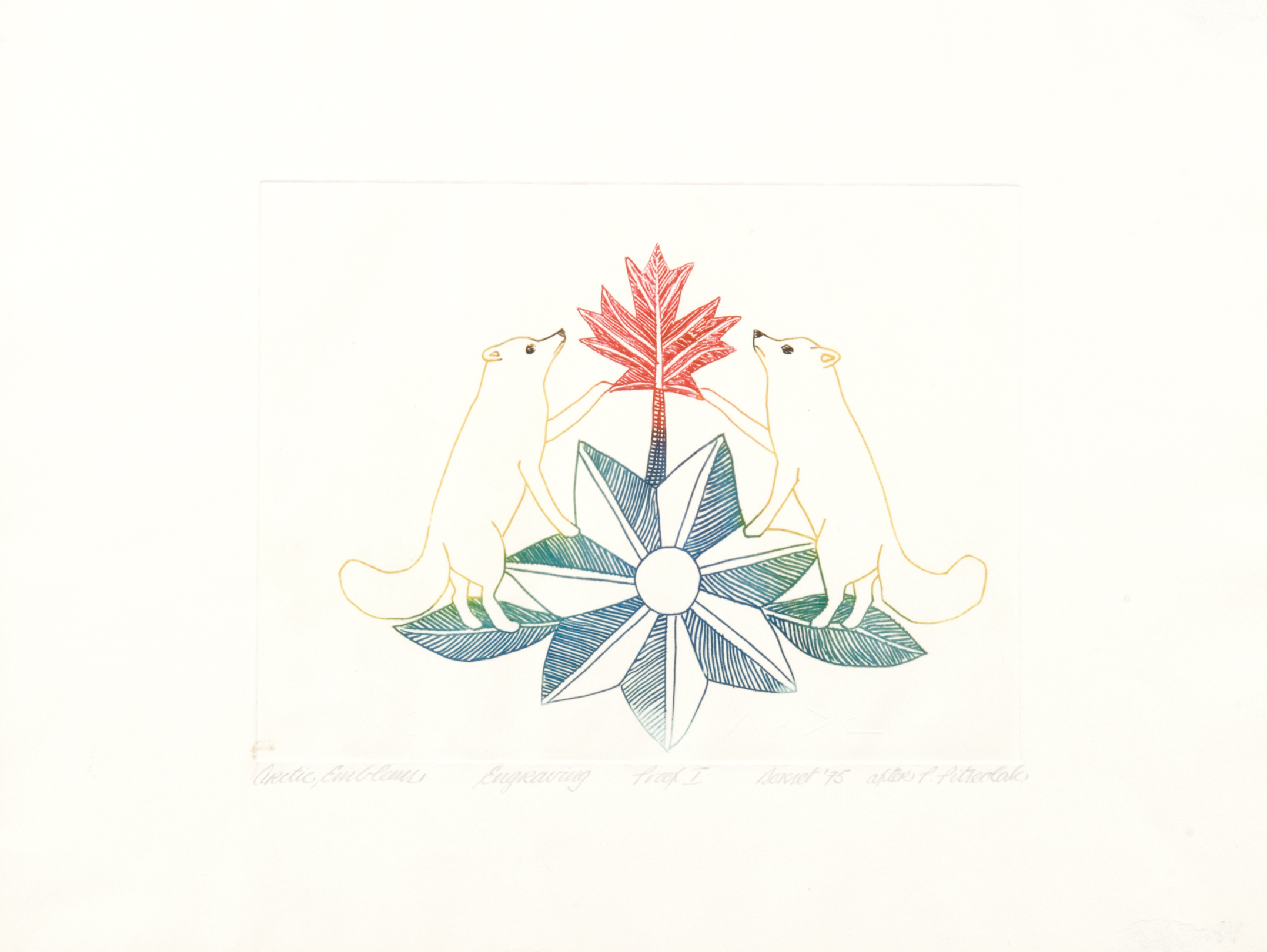 Peter Pitseolak ARCTIC EMBLEMS Engraving 1975 31.8 x 41.9 cm $350.00 CDN Released in the 1975 collection Dorset ID#: 75-74