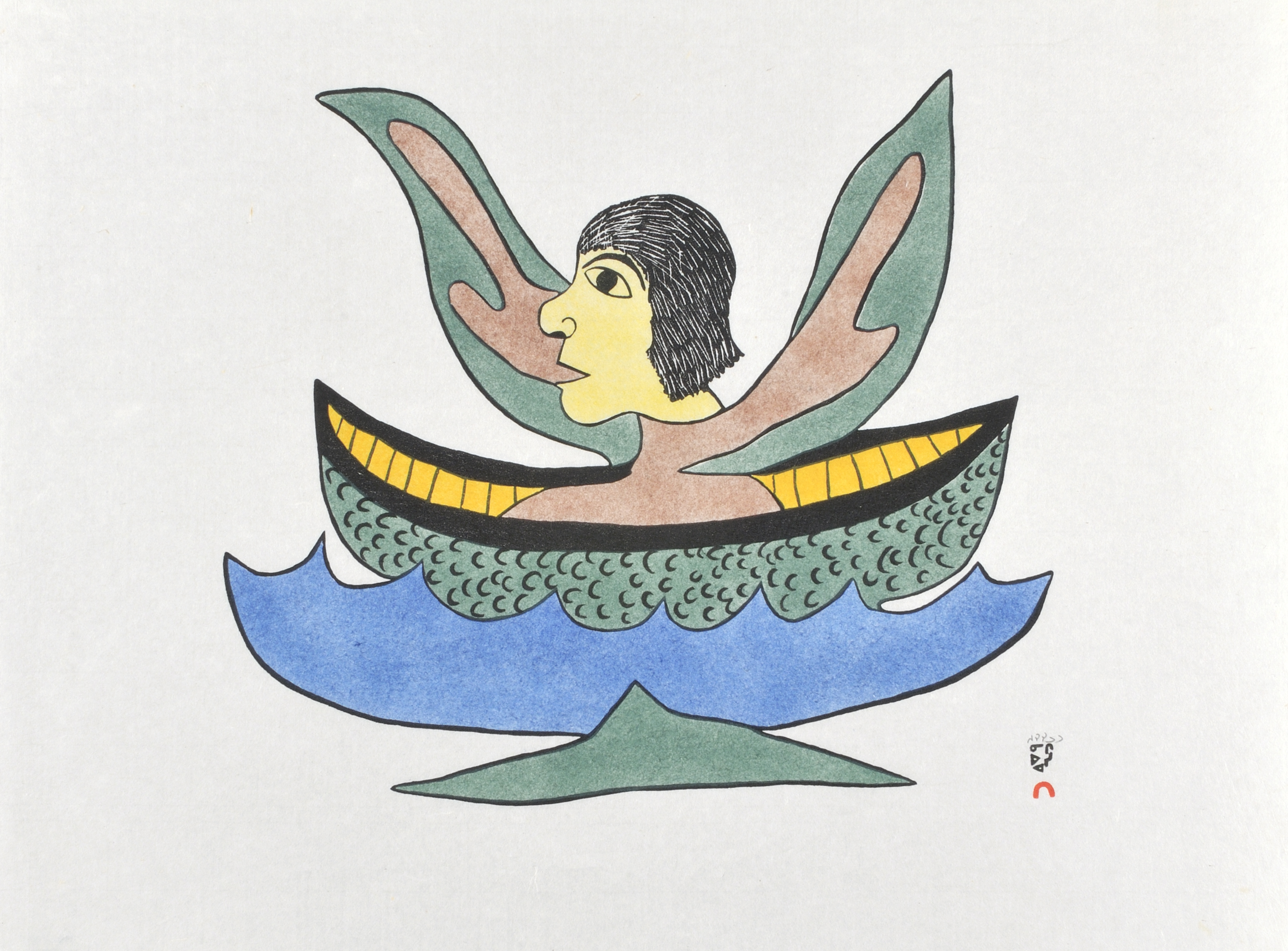 Soroseelutu Ashoona  ALONE ON THE OCEAN Stonecut & Stencil 1979 46.5 x 62 cm $200.00 CDN Released in the 1979 collection Dorset ID#: 79-57