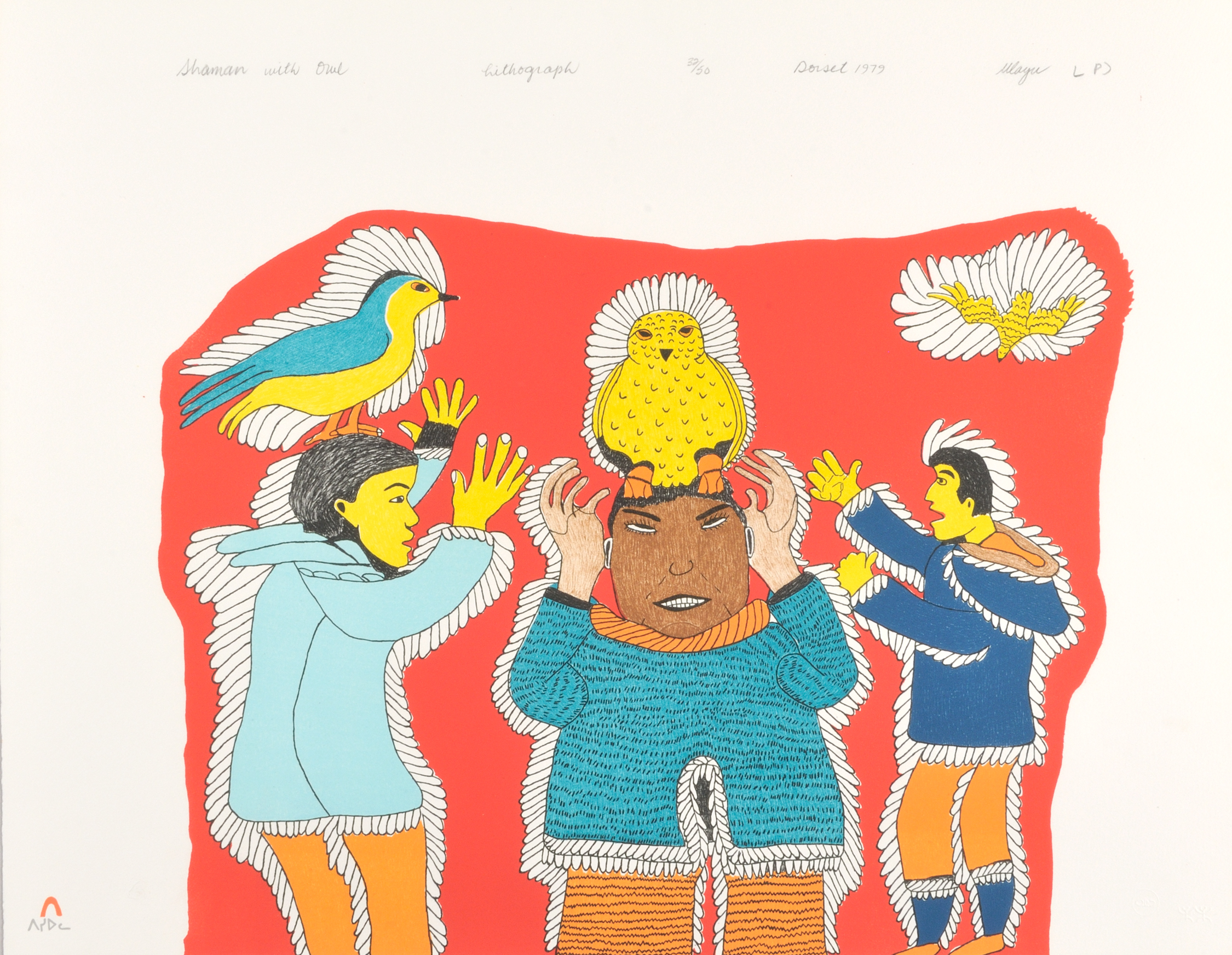 Ulayu Pingwartok  SHAMAN WITH OWL Lithograph 1979 51.5 x 66 cm $200.00 CDN Released in the 1979 collection Dorset ID#: 79-L30