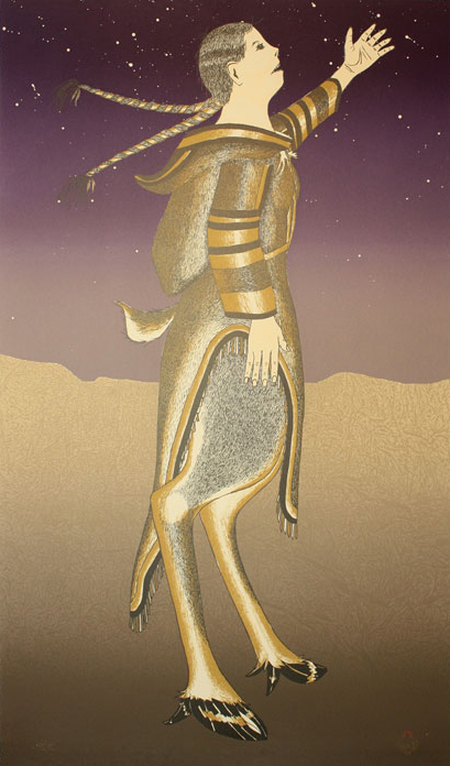 Arnaqu Ashevak  CARIBOU WOMAN Lithograph   2000 87.4 x 51.1 cm $700.00 CDN Released in the 2000 collection Dorset ID#: 00-01