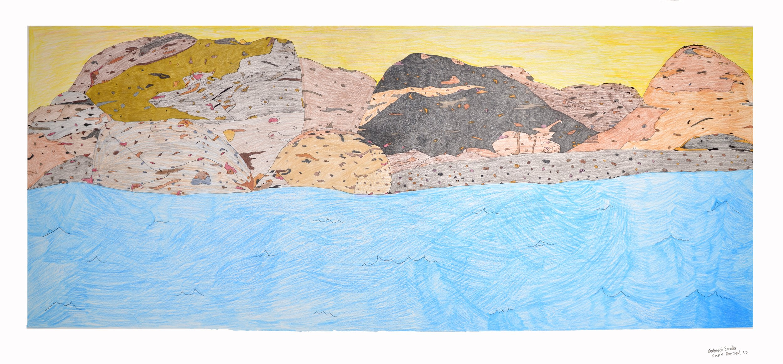 Ooloosie Saila Untitled, 2015 Coloured pencil and ink 56.5 x 126.3 cm 219-0015