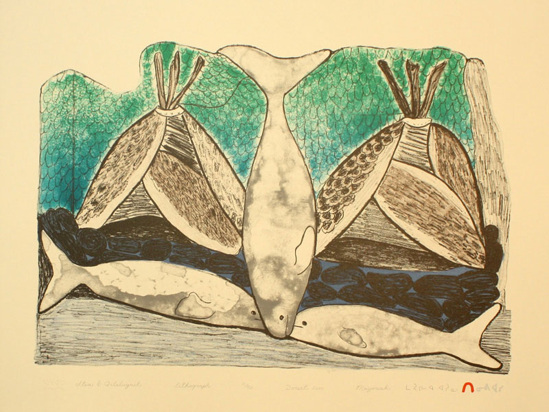 Mayoreak Ashoona  ITSA & QILALUGAIT (SEALSKIN TENT & BELUGA WHALES) Lithograph 2000 38.2 x 51 cm $350.00 CDN Released in the 2000 Spring collection Dorset ID#: 2000-S12