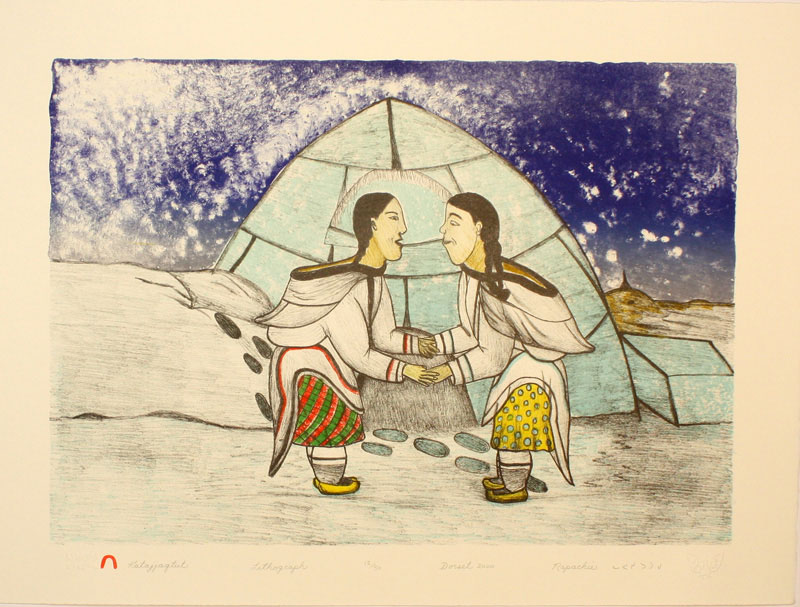Napachie Pootoogook  KATAJJAQTUT (THROAT SINGING) Lithograph 2000 38.3 x 51.1 cm $350.00 CDN Released in the 2000 Spring collection Dorset ID#: 2000-S15