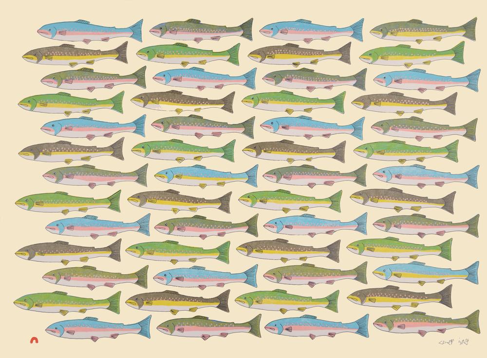 PAUOJOUNGIE SAGGIAK   Counting Char   Lithograph 2016  56 x 76.5 cm  $ 550  Dorset ID#: 16-13