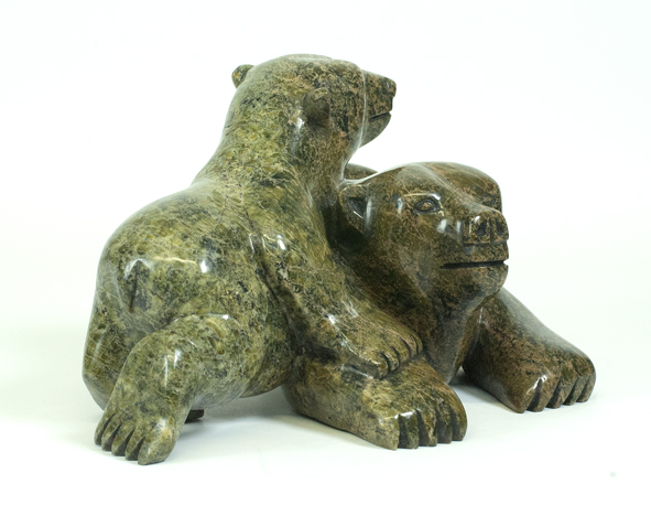Mosesee Pootoogook  6689K Bear and Cub, 2017  Serpentinite h 6.5 x w 14 d 7 in