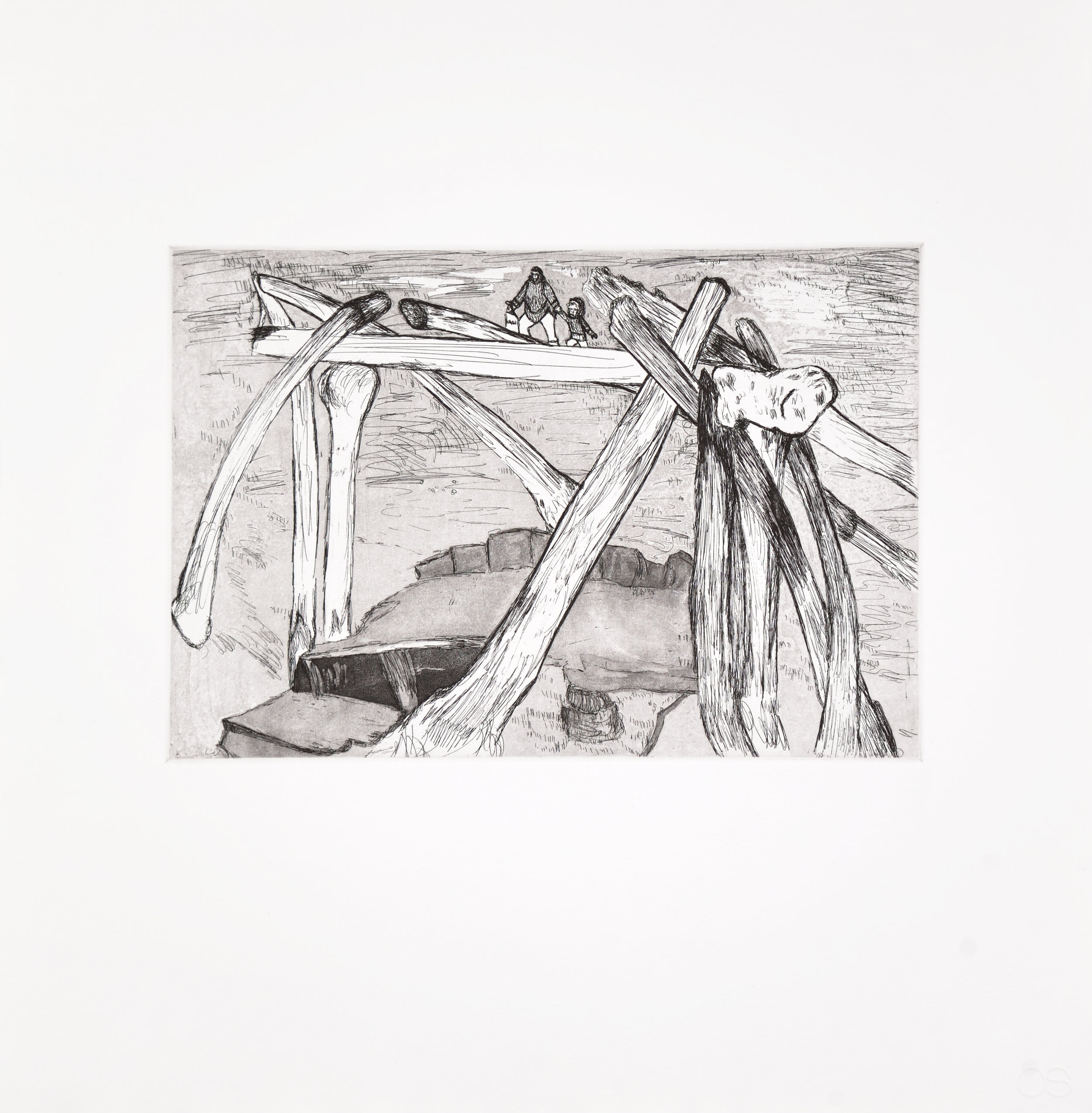 17-19 SHUVINAI ASHOONA Journey to the Past Etching & Aquatint Paper: Hahnemuhle Copperplate Bright White Printer: Open Studio 40.7 x 39.3 cm $600
