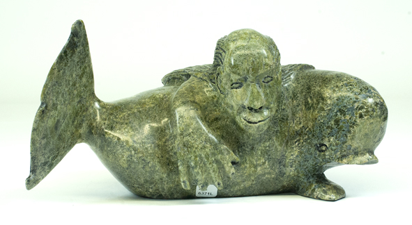 "6371L Sedna and Whale, 2017 Serpentinite H 6""  W 12""  D 6.5"""