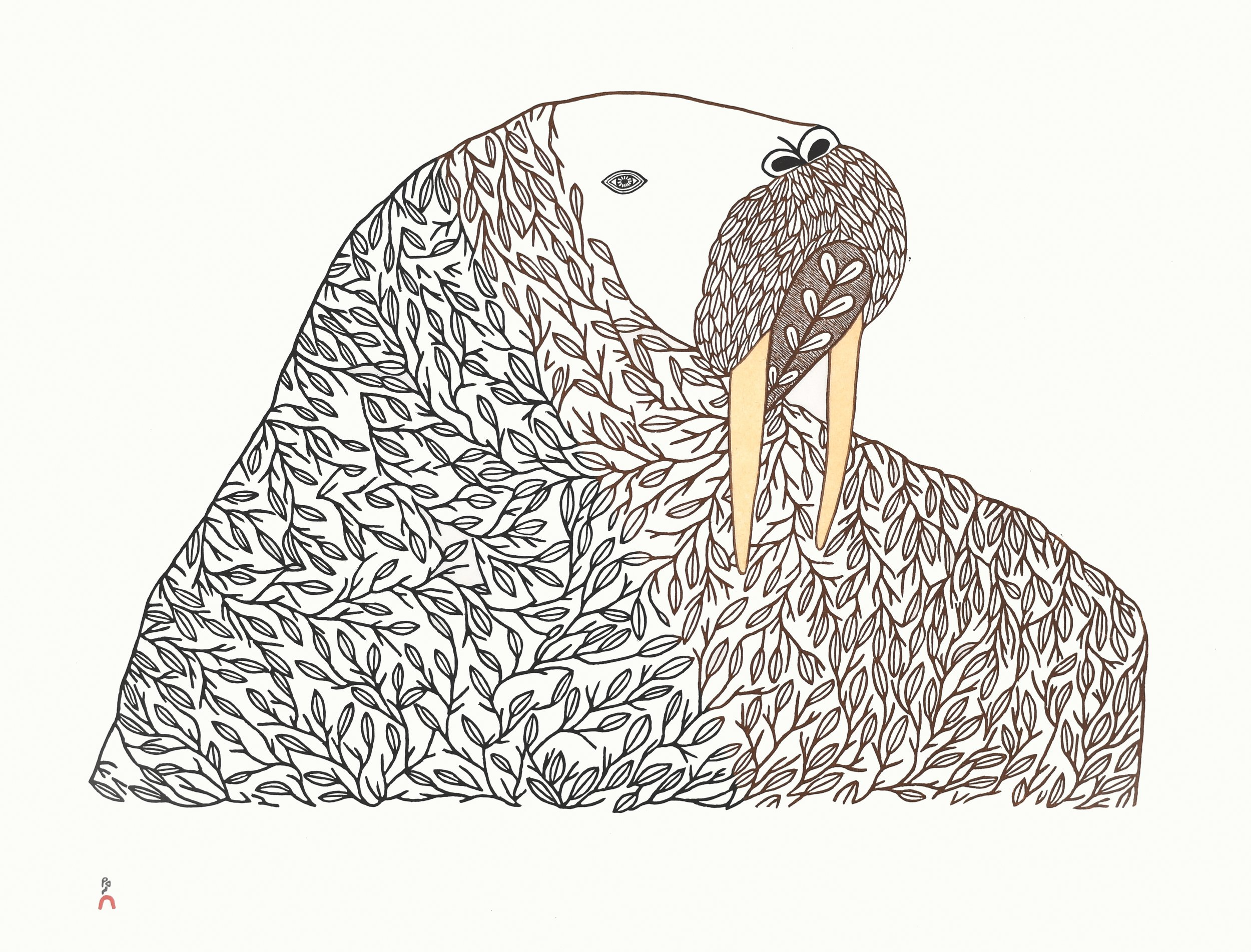 NINGIUKULU TEEVEE  1. Floral Transformation  Stonecut & Stencil  Paper: Kizuki Kozo White  Printer: Qiatsuq Niviaqsi  61.5 x 79.7 cm  $ 1200
