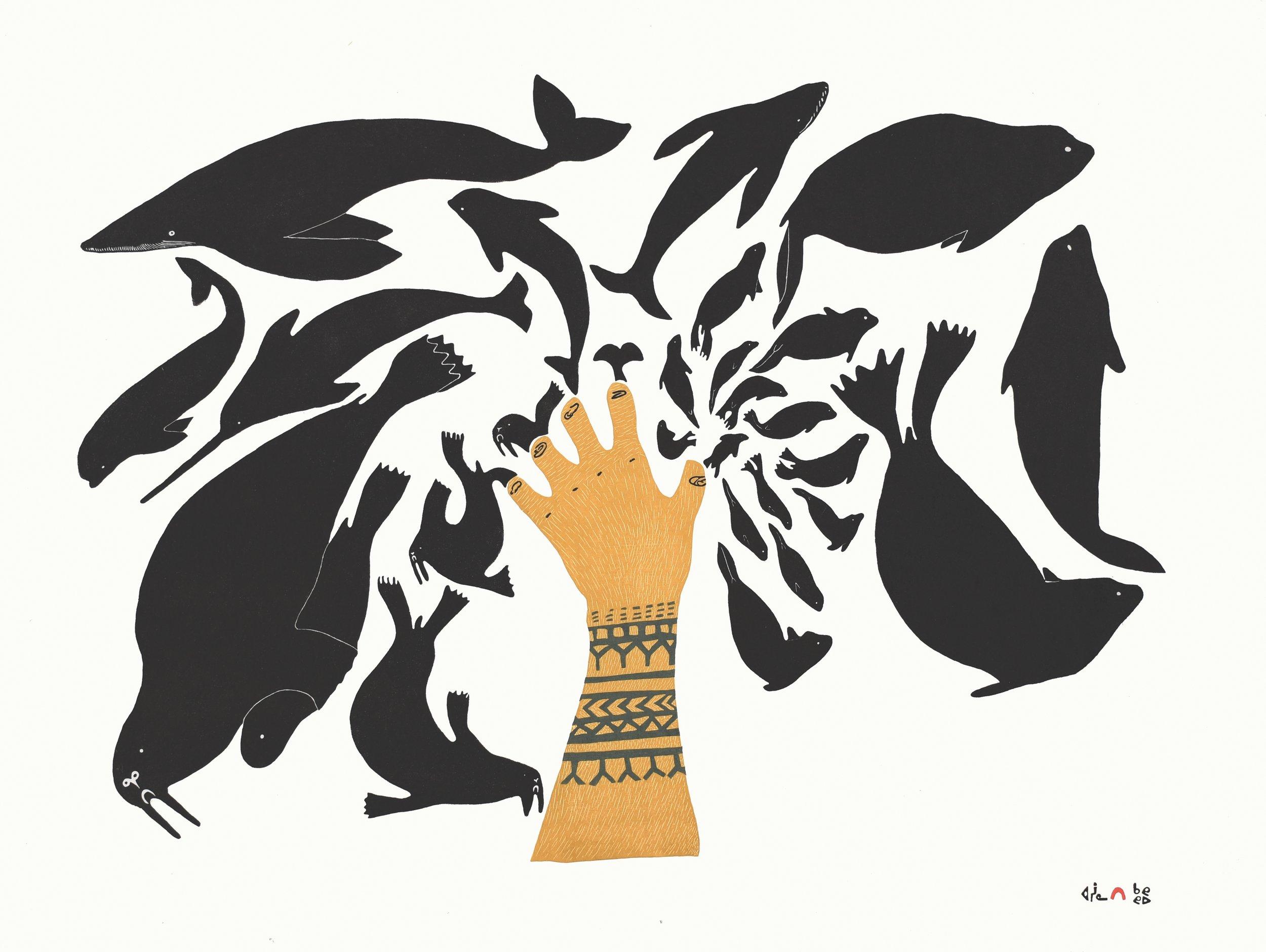 NINGIUKULU TEEVEE  4. Sedna's Creation  Stonecut  Paper: Kizuki Kozo White  Printer: Qavavau Manumie & Ashoona Ashoona  61.5 x 81.8 cm  $ 1000