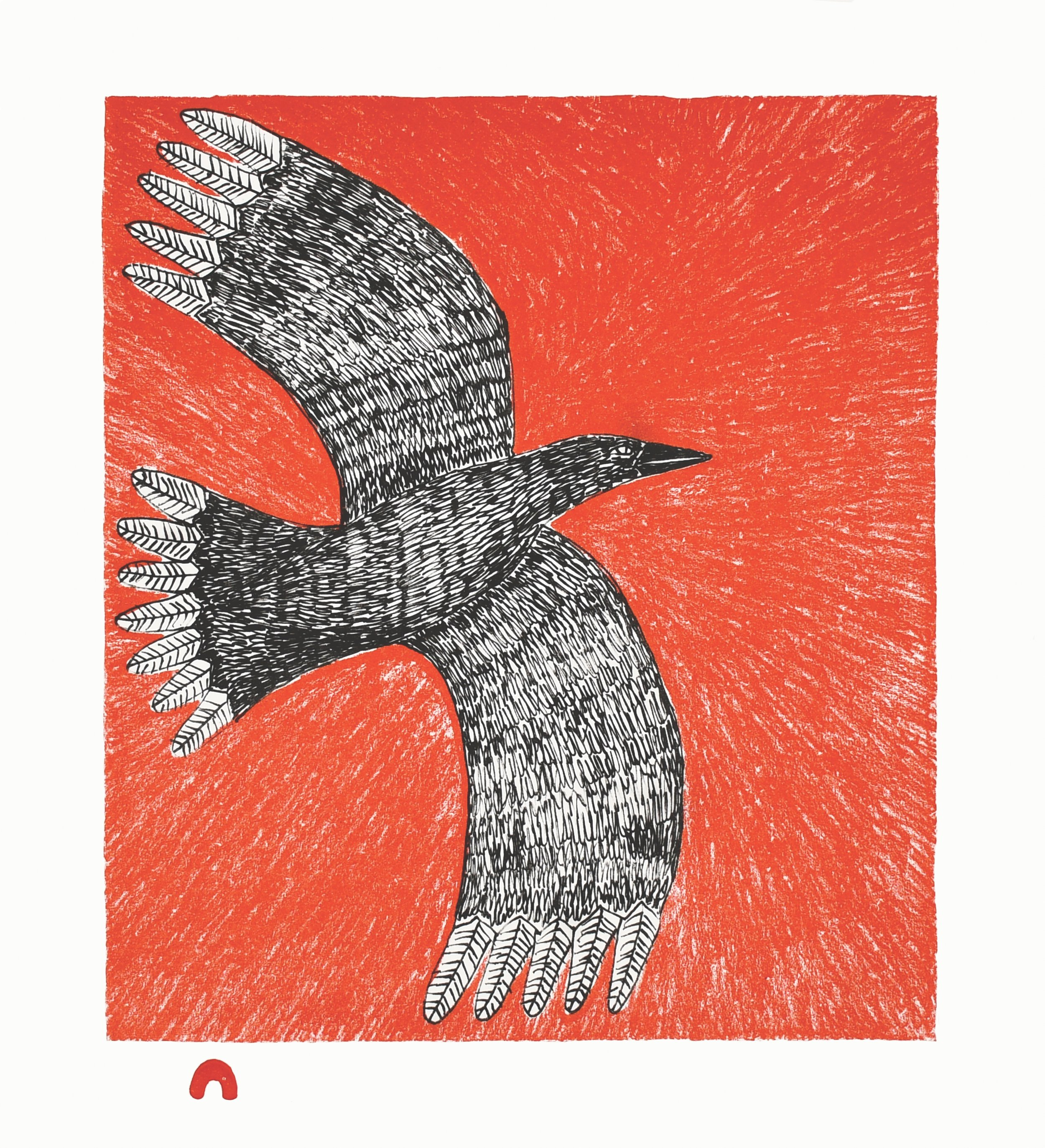 NINGIUKULU TEEVEE  7. Flight  Lithograph  Paper: BFK White  Printer: Nujalia Quvianaqtuliaq  27.5 x 25.5 cm  $ 500