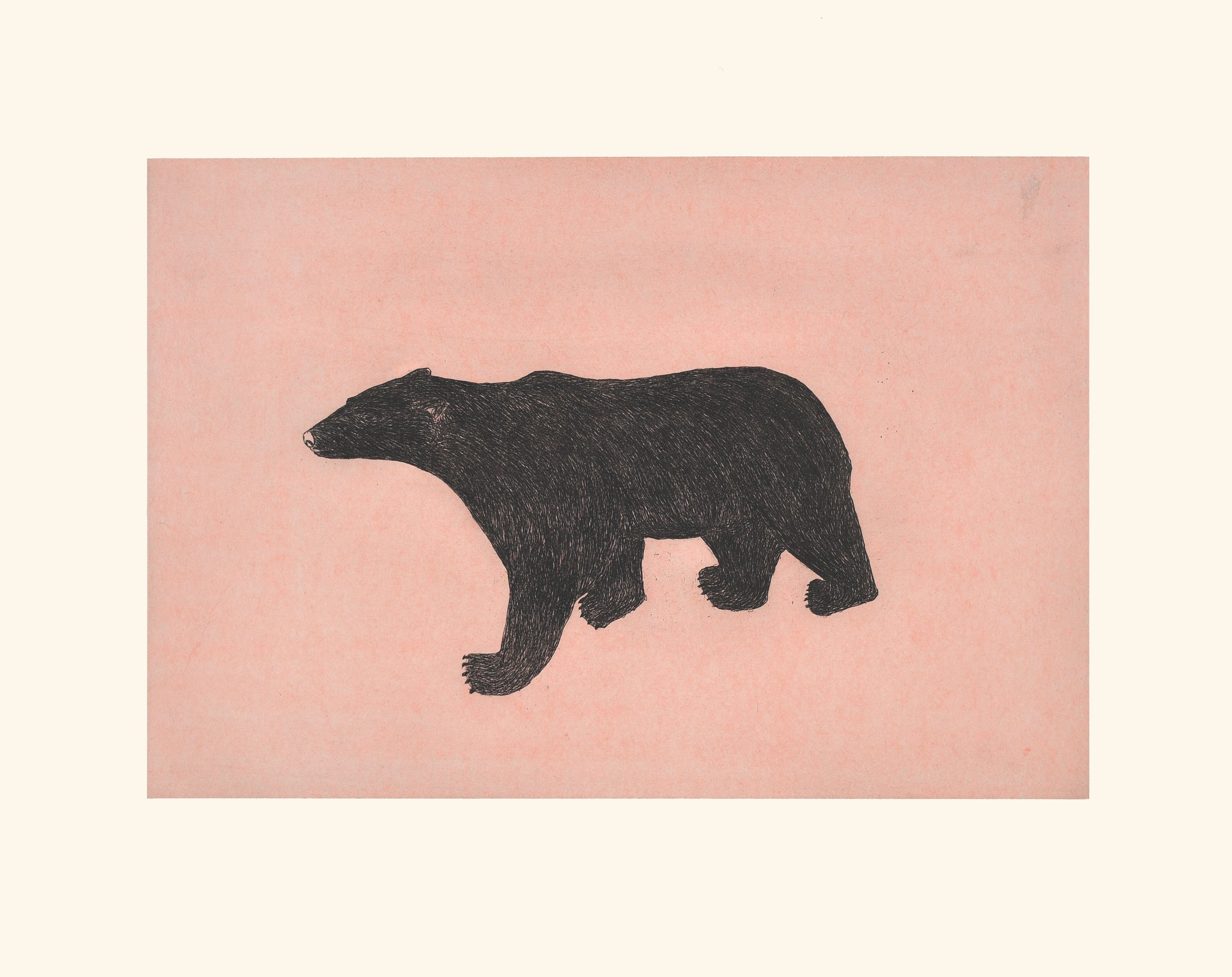 OHITO ASHOONA  11. Prowling Bear  Etching & Chine Collé  Paper: Arches White  Printer: Studio PM  64 x 80 cm  $ 800
