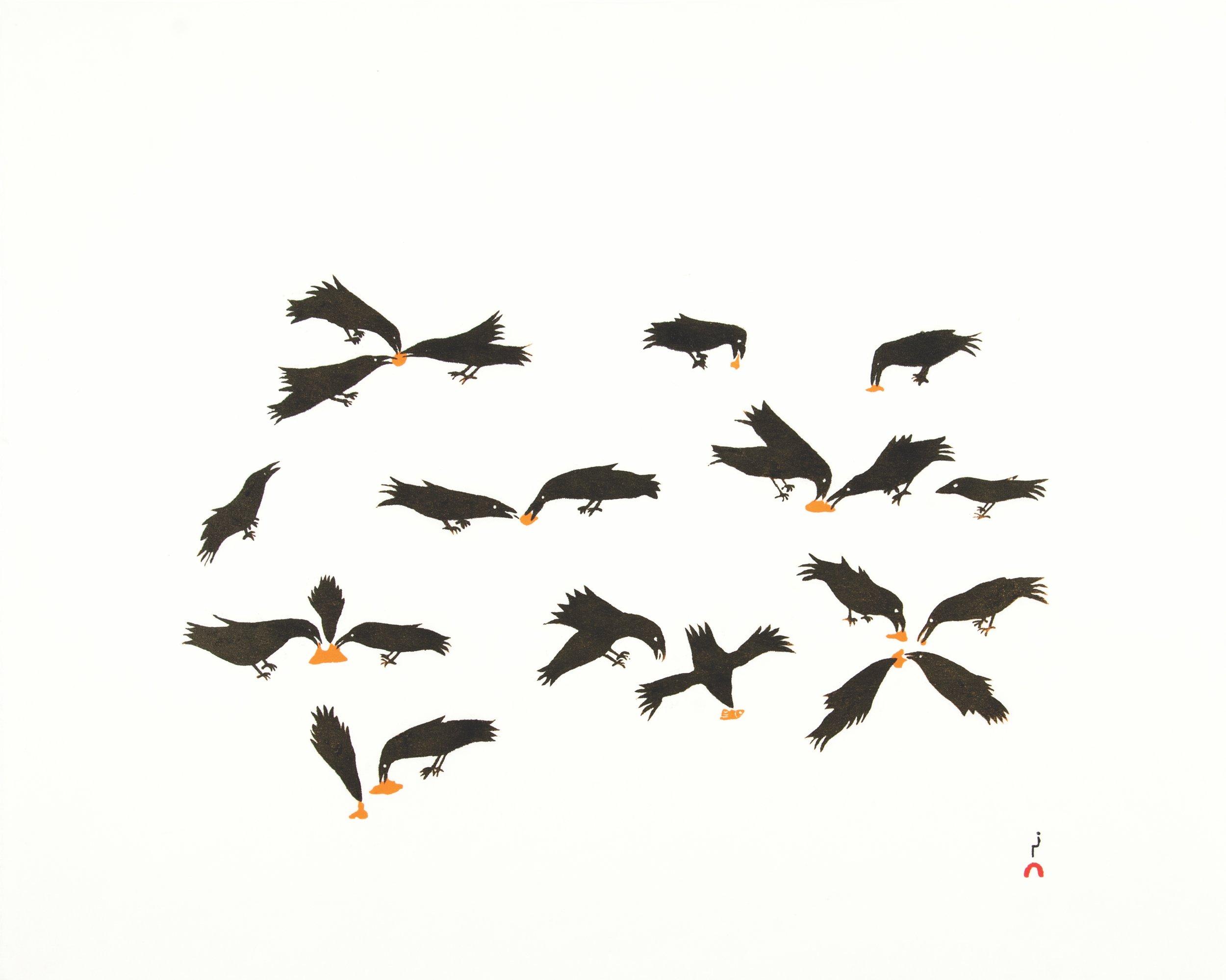 OLOOREAK ETUNGAT  12. Feeding Ravens  Stonecut  Paper: Kizuki Kozo White  Printer: Cee Pootoogook  48.5 x 61.5 cm  $ 500