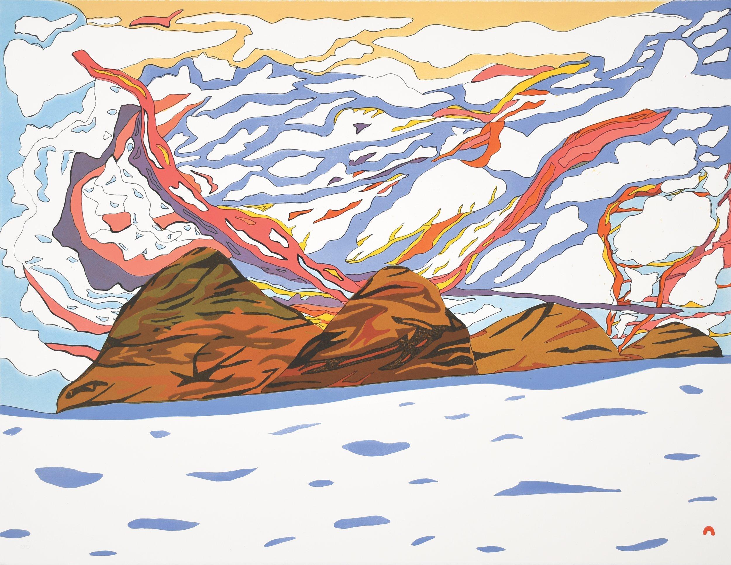 OOLOOSIE SAILA  16. Sunlit Sky  Lithograph  Paper: BFK Rives White  Printer: Niveaksie Quvianaqtuliaq  56.5 x 73 cm  $ 750