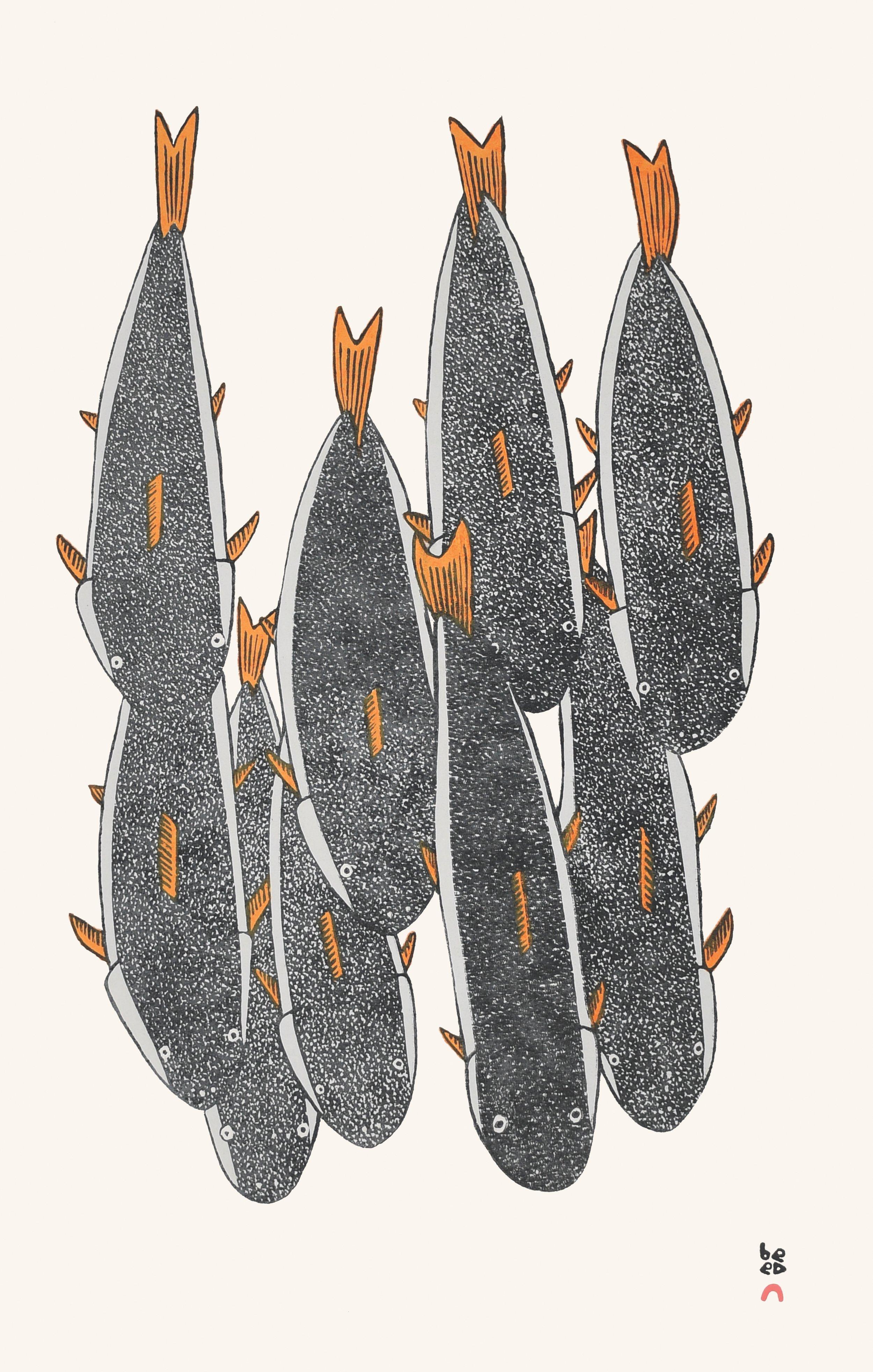 MOSESEE MANGITAK  17. School of Char  Stonecut  Paper: Kizuki Kozo Natural  Printer: Qavavau Manumie  59.7 x 38 cm  $ 500