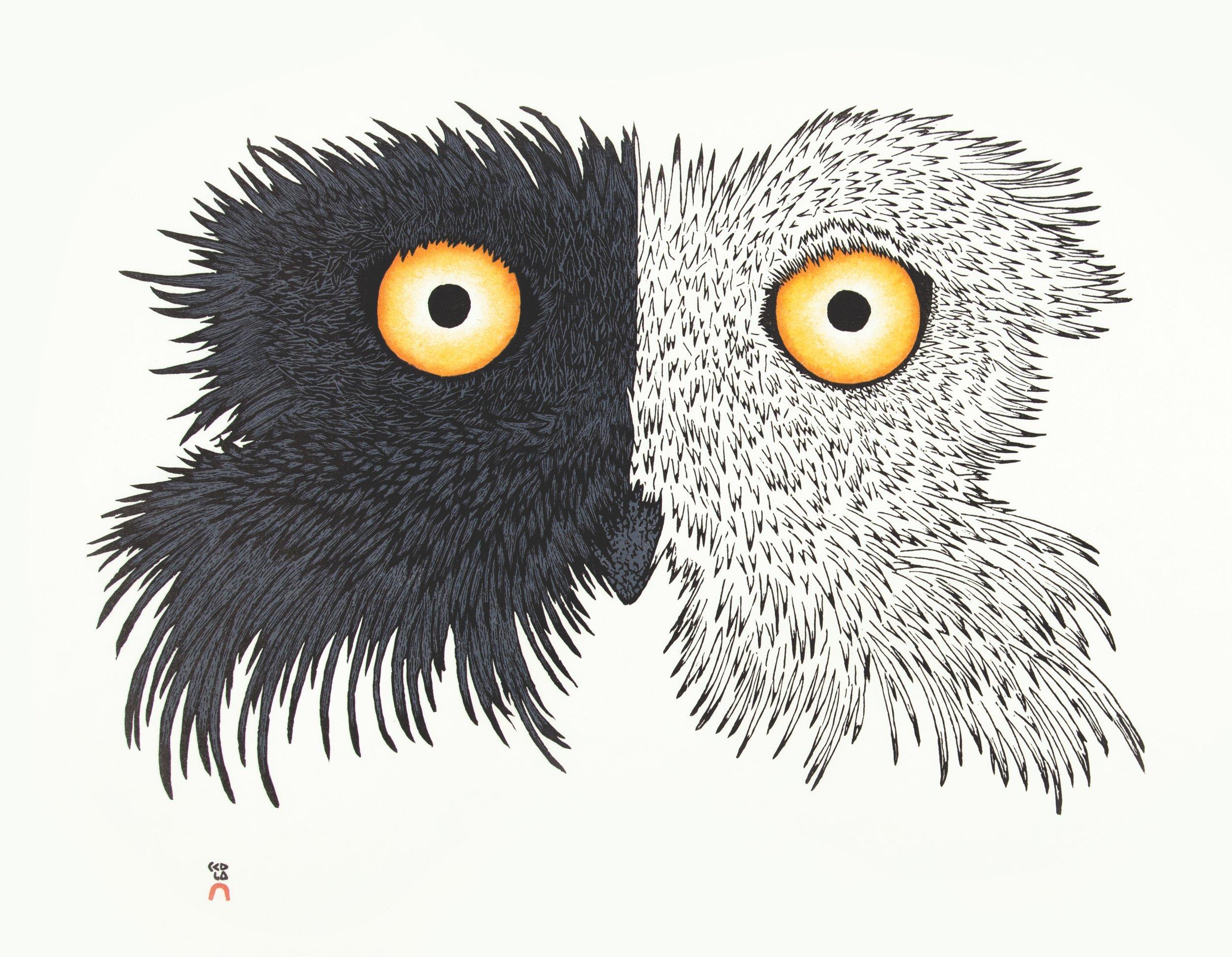 PADLOO SAMAYUALIE  18. Night & Day  Stonecut & Stencil  Paper: Kizuki Kozo White  Printer: Tapaungai Niviaqsi  48 x 61.5 cm  $ 800