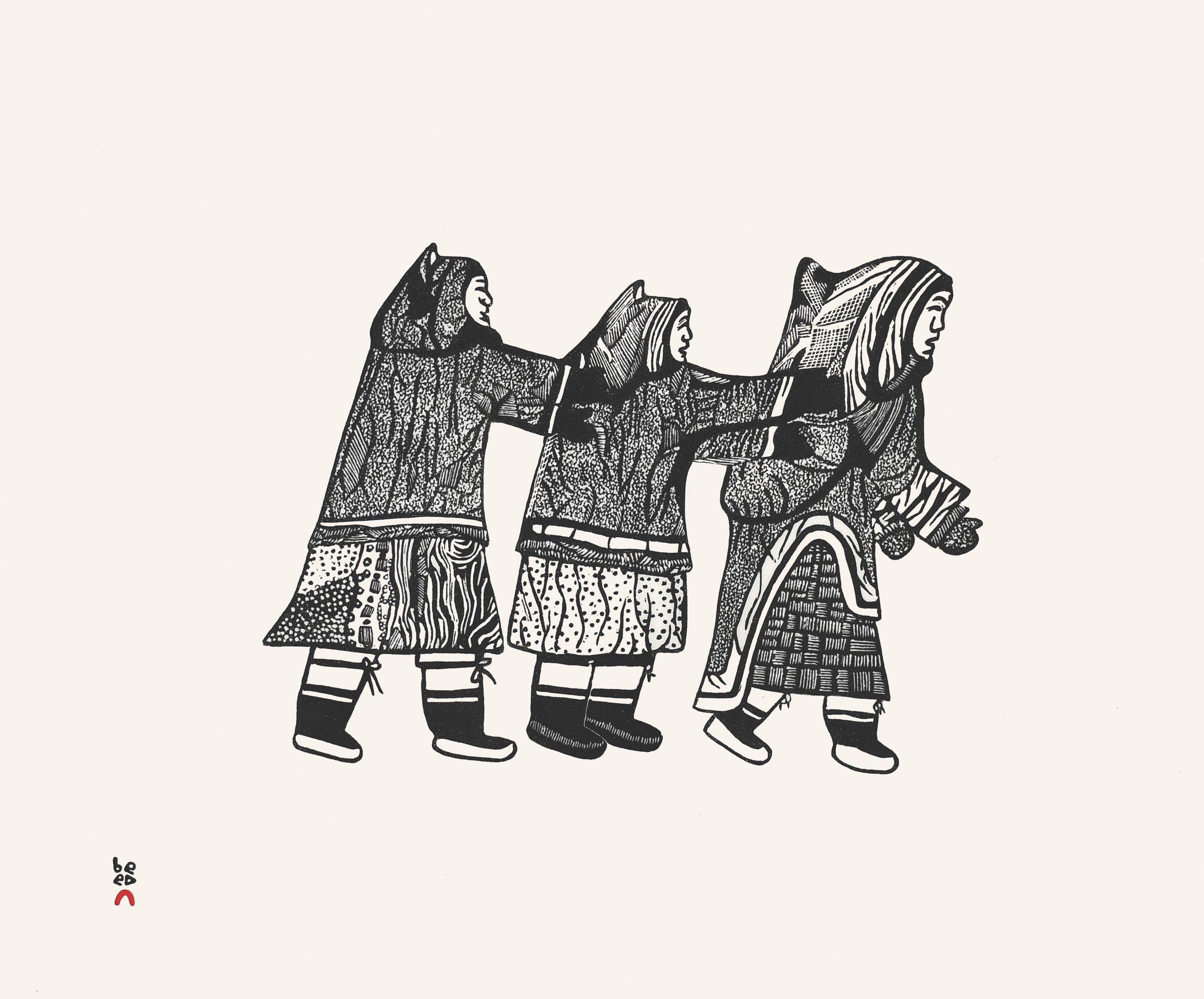 PITALOOSIE SAILA  26. Three Women Playing  Stonecut  Paper: Kizuki Kozo Natural  Printer: Qavavau Manumie  49.5 x 59 cm  $ 600