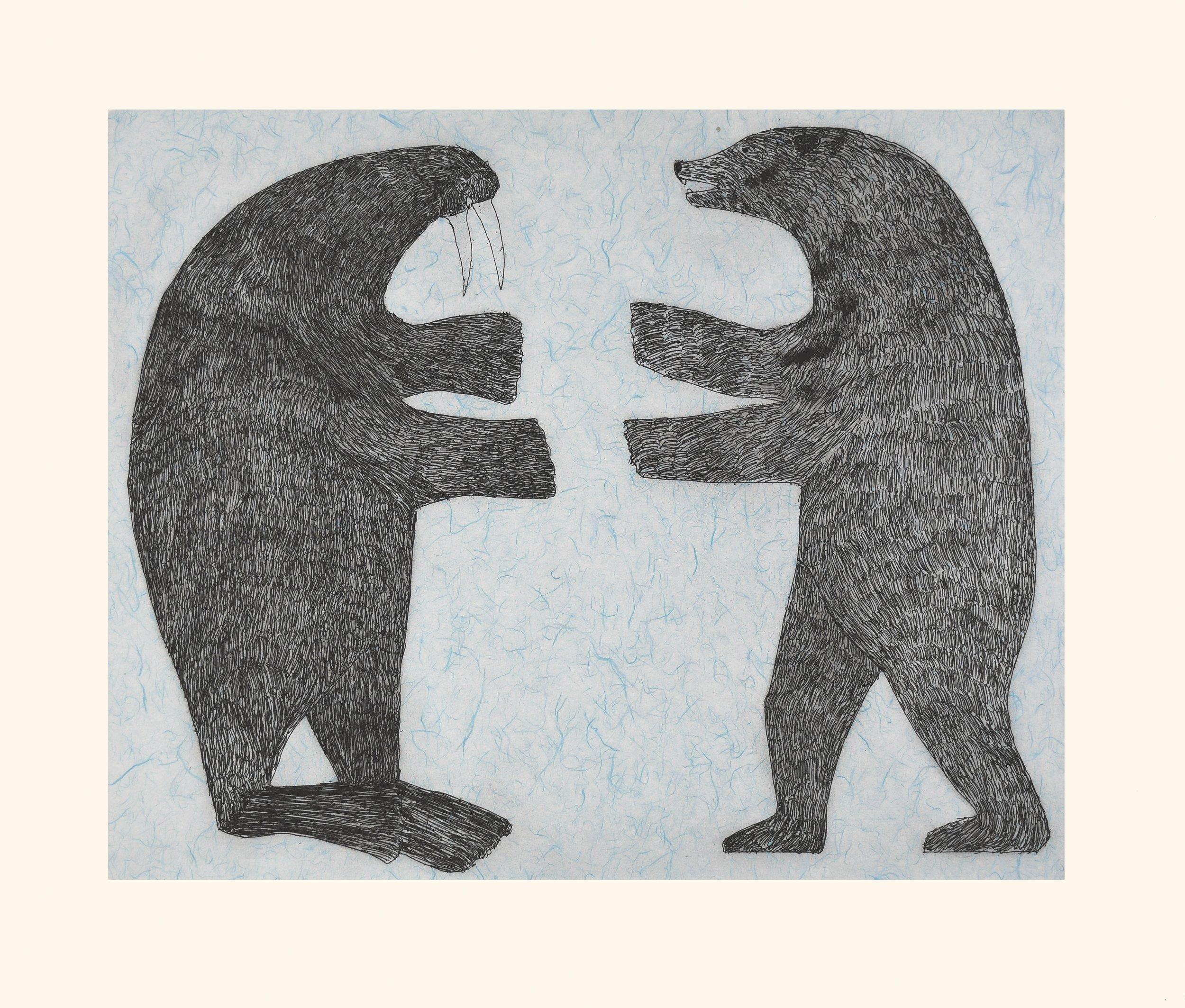 NUNA PARR  29. Confrontation  Etching & Chine Collé  Paper: Arches White  Printer: Studio PM  80 x 94 cm  $ 1000